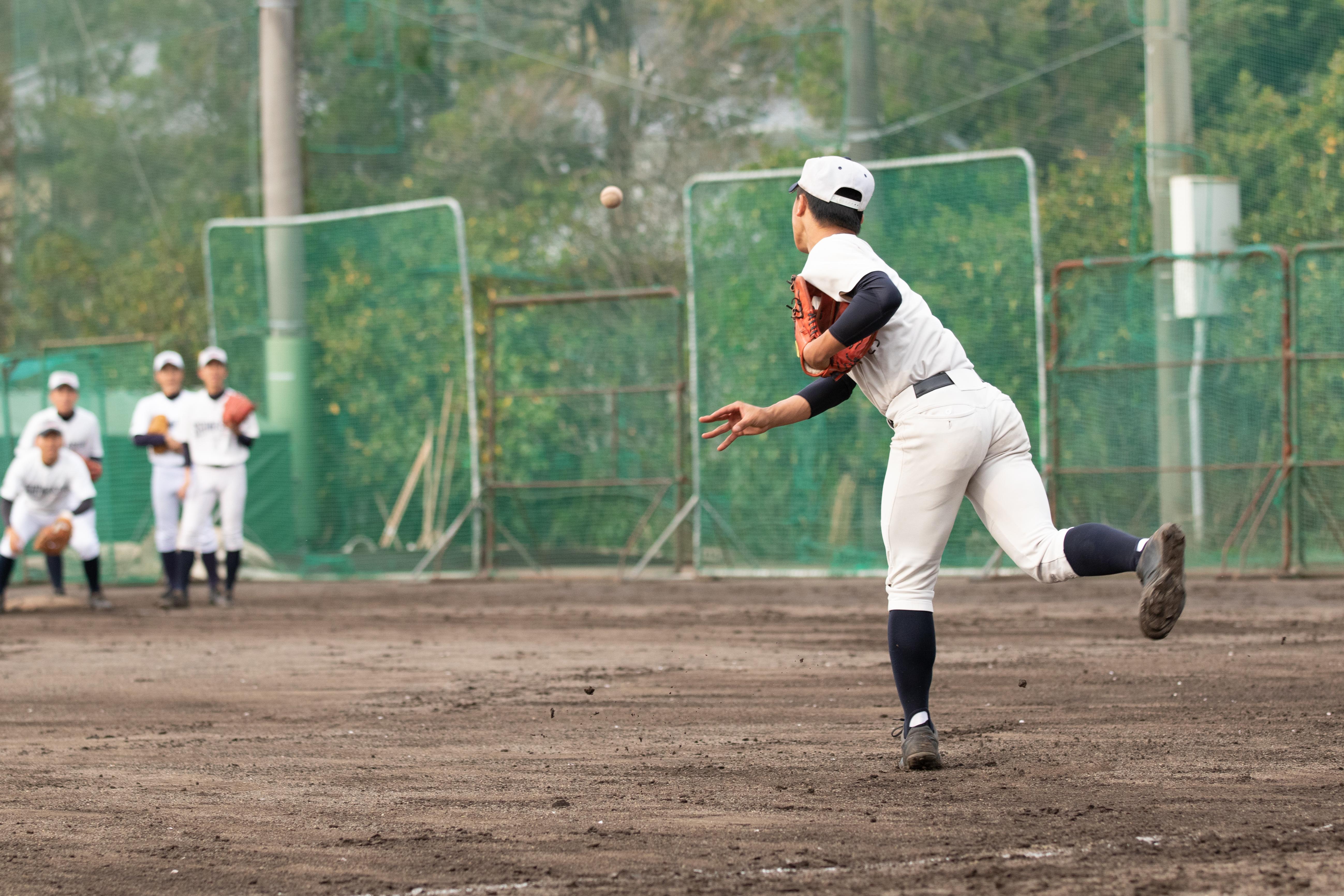 【島田商 野球部】ランニングボール回し