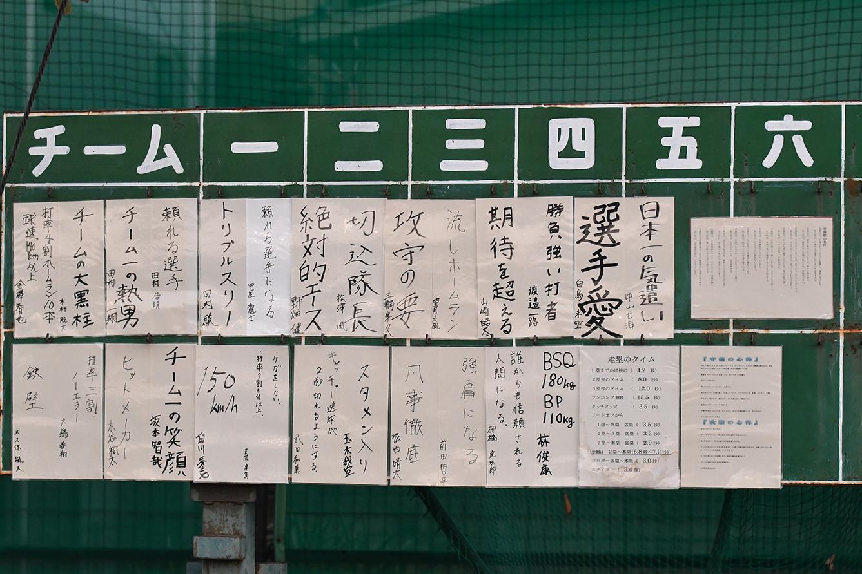 【江戸川 野球部】部員の目標を掲示